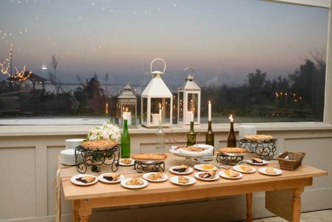 Wedding reception dessert pie table