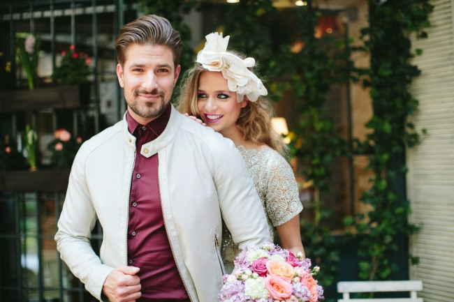 couple at budapest cafe styled shoot