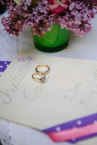 gold wedding bands on invite
