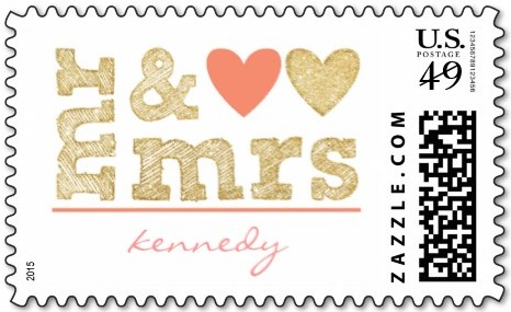mr & mrs custom wedding stamp