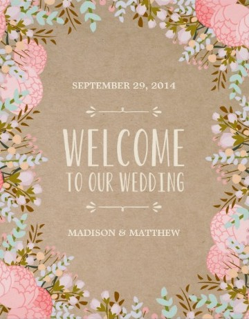 Rustic flower guest arrival sign