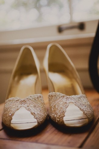 light gold peep toe heels with subtle rhinestones by Stuart Weitzman.""