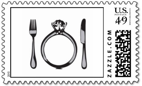 fork knife ring wedding stamp