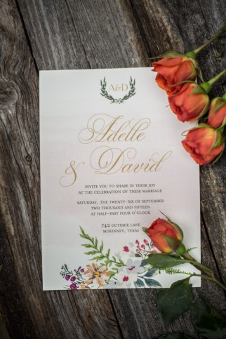 gold and floral Boho wedding invitations by CW Designs