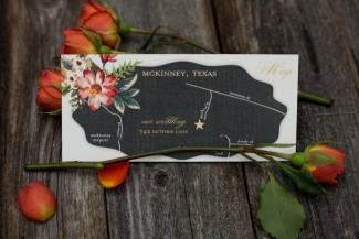balck and floral Boho wedding invitations by CW Designs