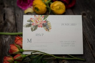 floral Boho wedding invitations by CW Designs