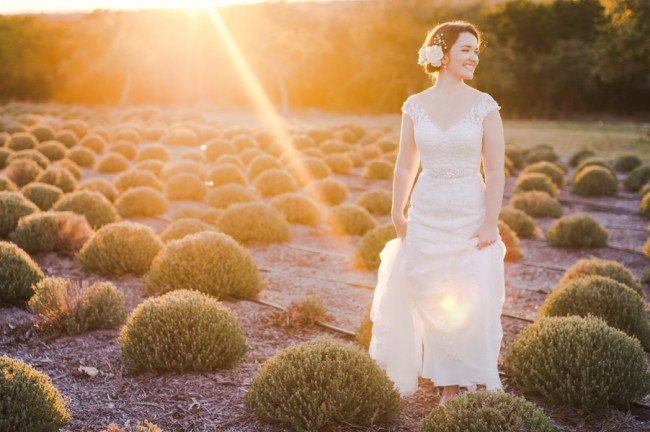 Bride wearing a Maggie Sottero standing in lavender fields of Rancho Mirando