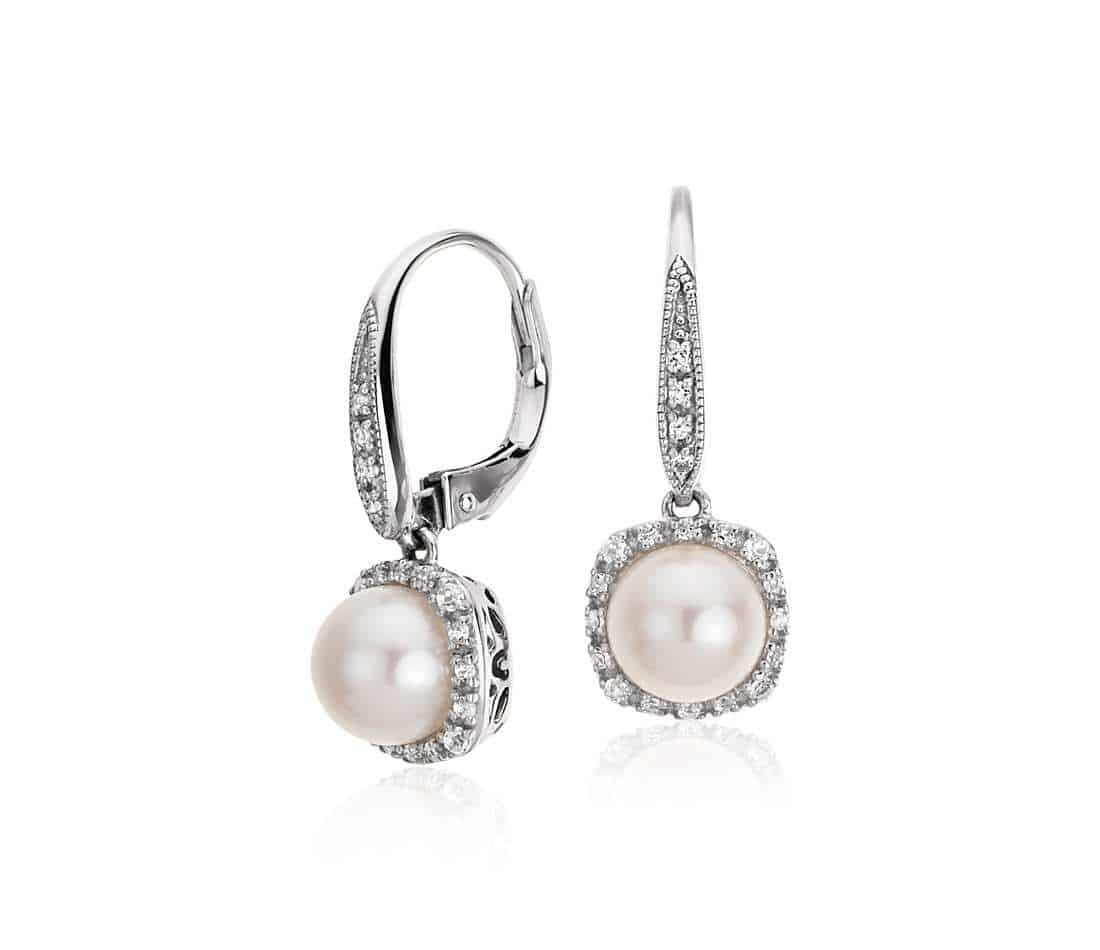 Freshwater Cultured Pearl and White Topaz Drop Earrings