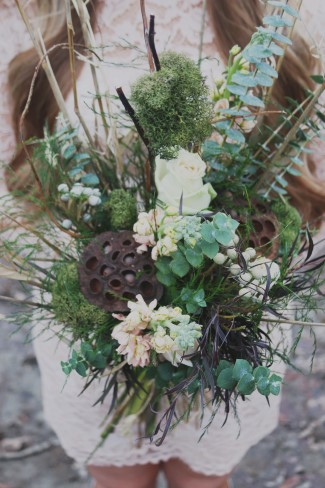 Green and white rustic bridal bouquet created by Flowers by Korissa
