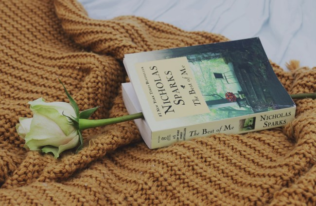 """Picture of """"The Best of Me"""" book on a picnic blanket with a white rose"""