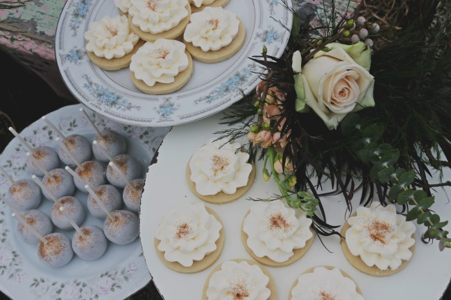 Cookies and pop cakes created by Turquoise & Pink for engagement shoot