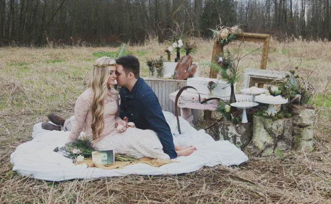 Rustic engagement picnic shoot styled by KittySloane