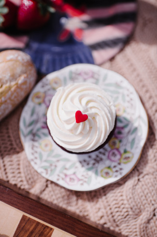 Cupcake on a plate for an engagement shoot created by Trophy Cupcakes