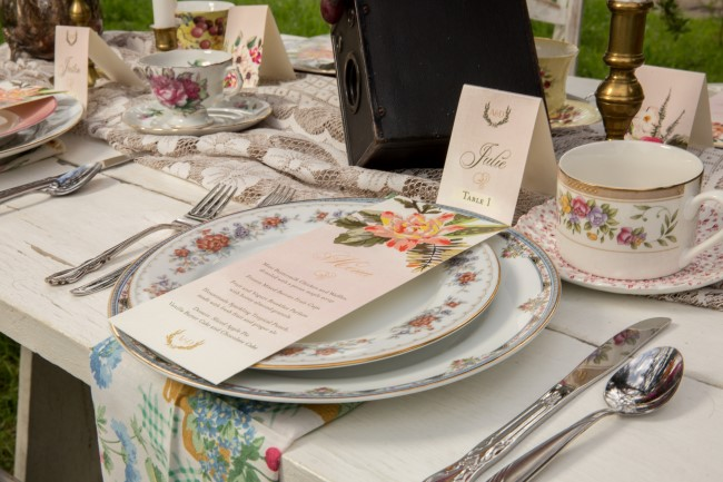 Mismatched china plates for wedding reception rented from rent my dust