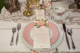 Vintage china place setting for boho styled shoot