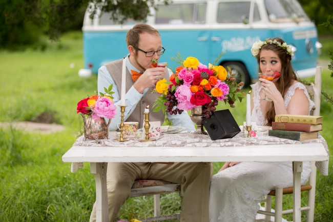 brightly colored Vintage boho table scape with rentals from Rent My Dust