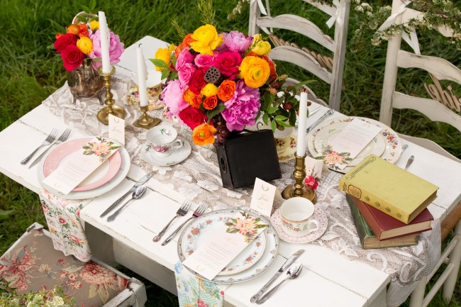 boho and vintage wedding reception table scape