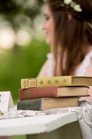 Vintage books for wedding decor from Rent my dust