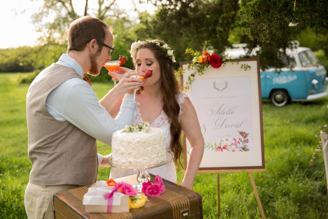 Bride and groom drinking sparkling punch by Uncle Willie's Pies and Catering
