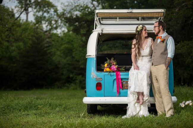 Bride and sitting in the back of a blue westafilia van rented from The Photobus DFW
