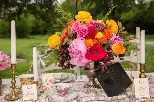 Brightly colored floral center piece created by Fleurs de France