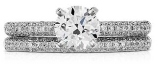 Solitare from Blue Nile with matching diamond wedding band