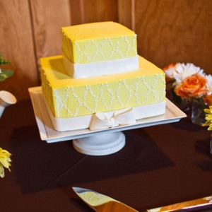 Square yellow wedding cake by Satura cakes