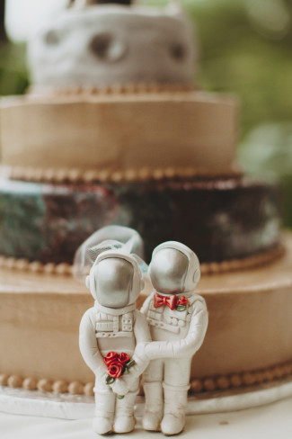 Space bride and groom cake toppers