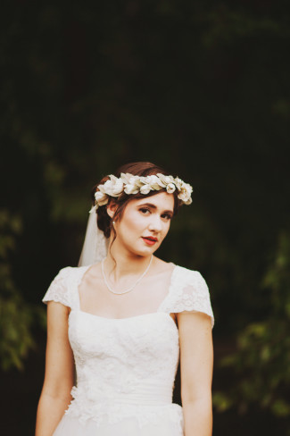 Bride wearing floral crown made by whichgoose