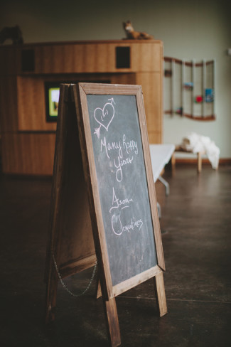 Chalkboard wedding sandwich board