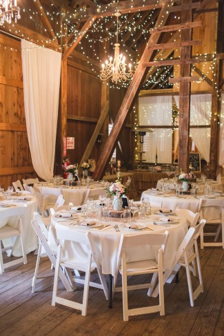 Whimsical barn wedding reception