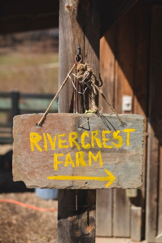 Rivercrest farm wedding venue wooden sign