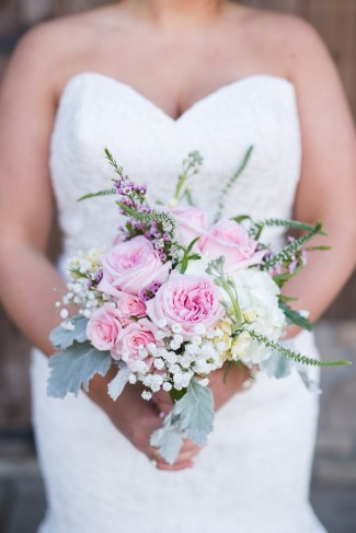 Pink and white and soft green bridal bouquet created by Pam's Posies Florist