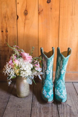 Blue cowboy boots for bridal attire