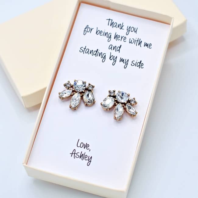 Crystal earrings Cluster stud Personalized Bridesmaid gift