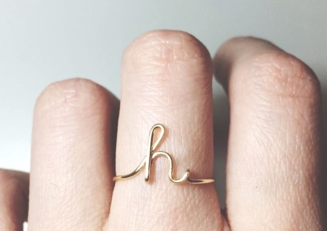 Custom Initial ring for unique bridesmaids gift