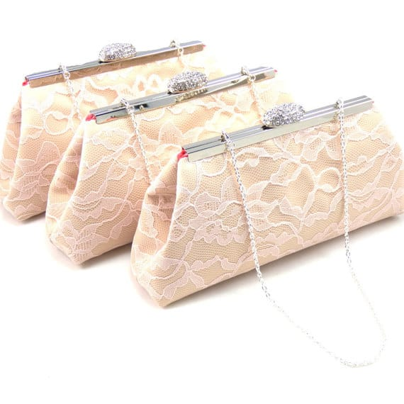Lace bridesmaid clutch gift