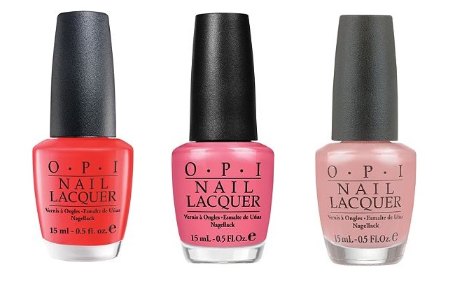 3 OPI nail polishes in shades of pink