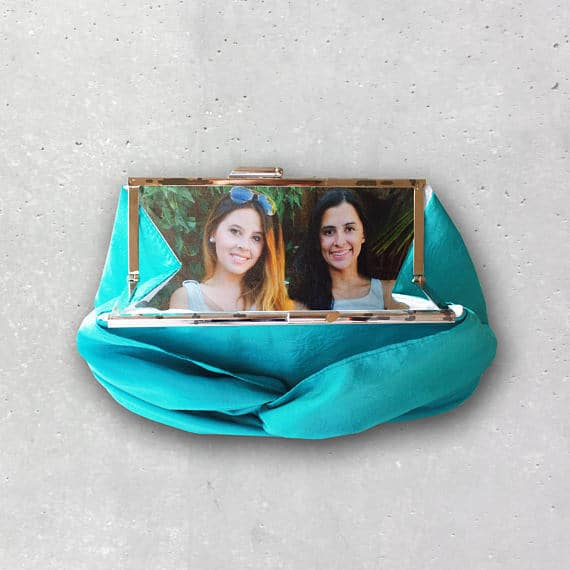 Personalized Bridal Photo Clutch with Metal Clasp for Bridesmaid