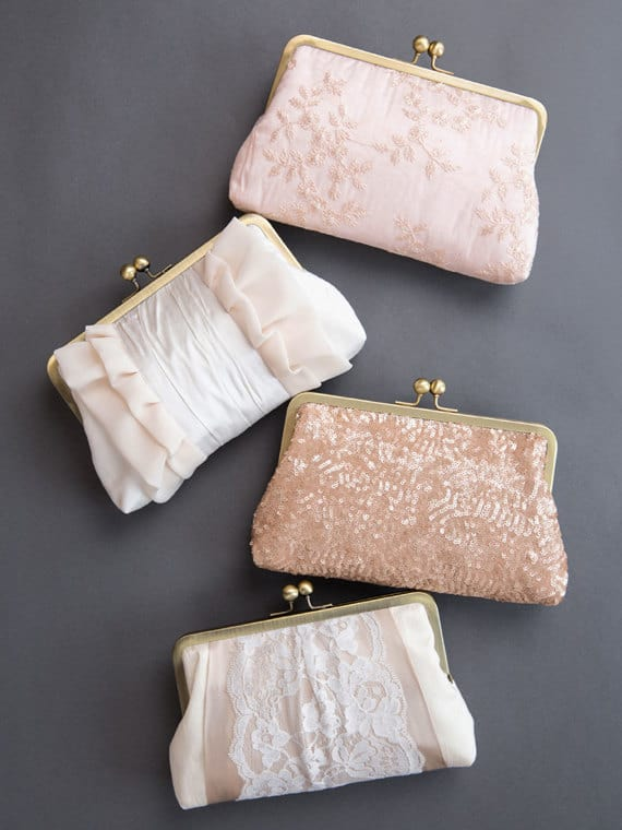 Pink Bridesmaid Clutch Set