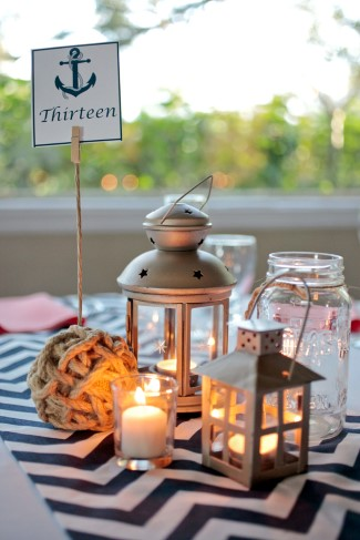 Nautical themed table scape for wedding reception at Davis Islands Garden Club