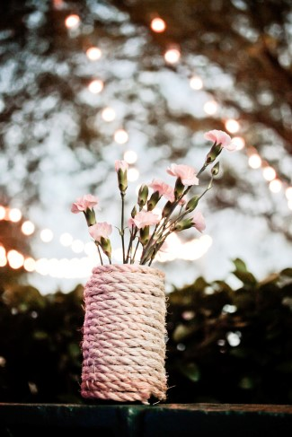 nautical vase covered with rope for wedding decor