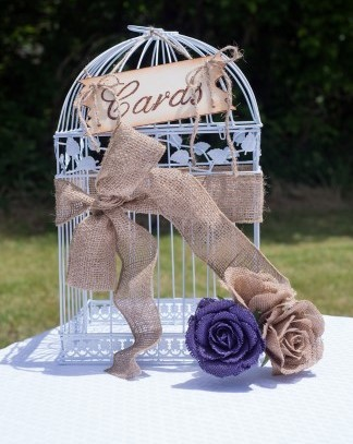 gift card birdcage with burlap decor