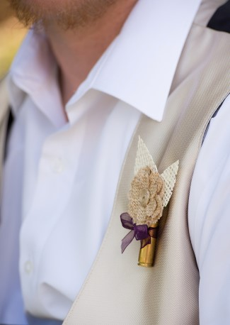 burlap flower and gun shell boutonniere
