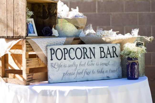 popcorn bar table with wood crates