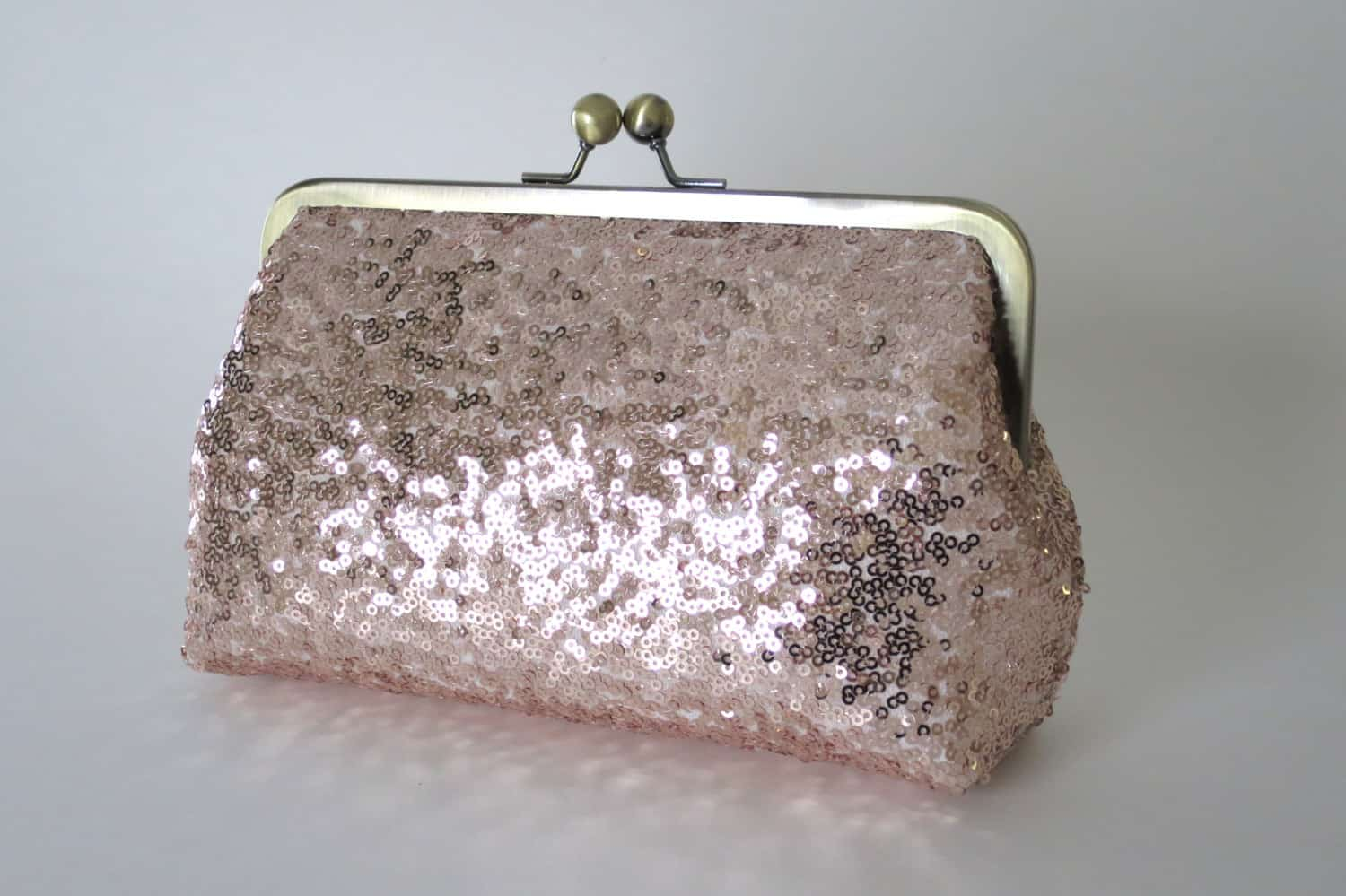 Rose Gold Blush Sequin Bridesmaid Clutch