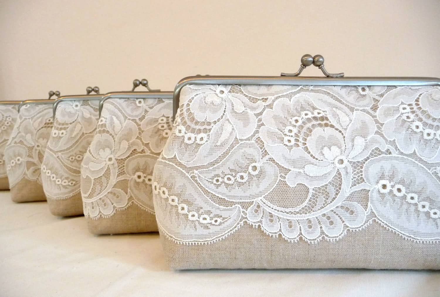 Vintage lace bridesmaid clutch gift