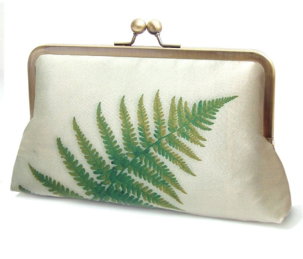 silk Green fern bridesmaid clutch