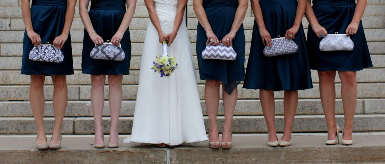 puple bridesmaids clutch purse gift