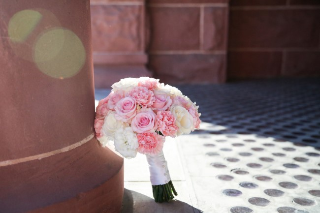 Pink and white wedding bouquet created by Oceanic Flowers